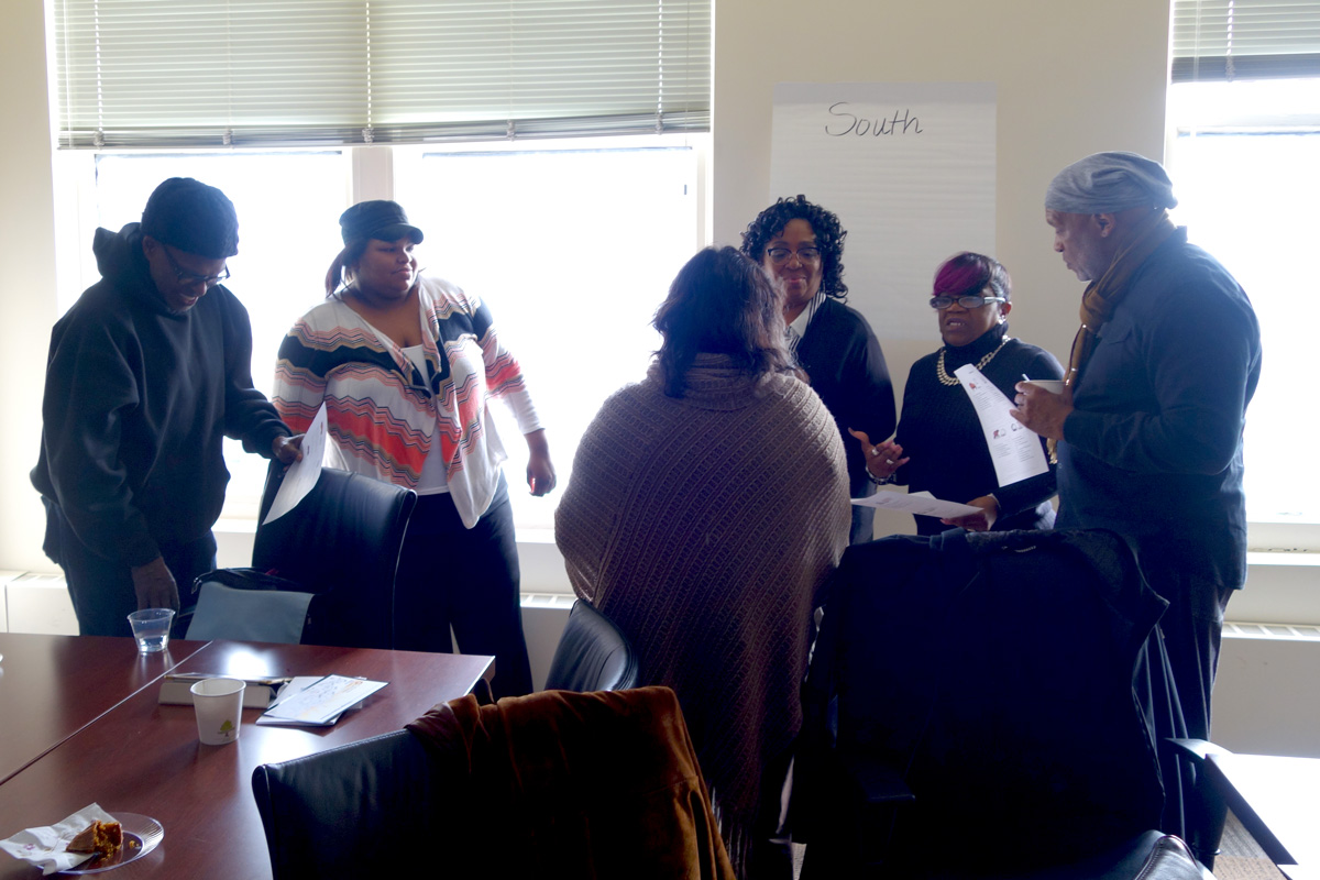 Chicago Peace Fellows discuss what they learned through the Leadership Compass exercise.