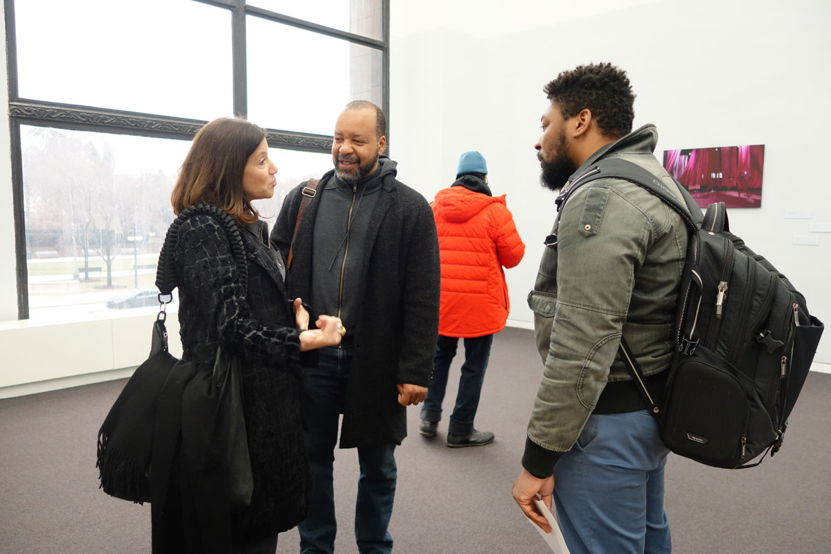 Jane Saks of Project& (left), Cecil McDonald, Jr. and Chicago Peace Fellows Coordinator Burrell Poe discuss the role of the arts in social change movements.
