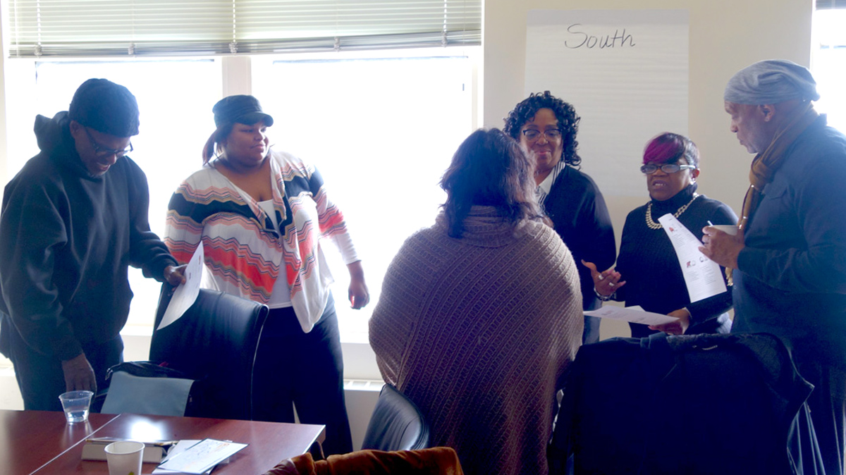 The Chicago Peace Fellows share their personal learning styles using the Leadership Compass approach: Dr. Sokoni Karanja (from left), Dawn Hodges, Maria Velazquez, Jeanette Coleman, Velvian Boswell joined by John Zeigler of DePaul University's Egan Center.