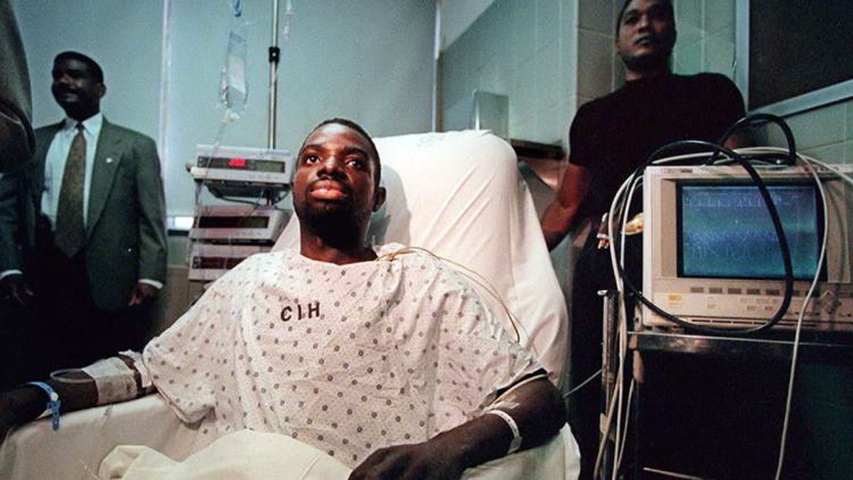 Abner Louima recovers from his assault at a hospital in New York.